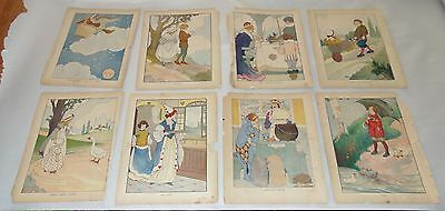 EIGHT NURSERY RHYME Illustrations ANTIQUE Color PRINTS Mother Goose FOR FRAMING!