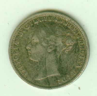 British Silver 1885 3 Pence-Lot D3