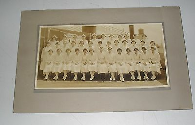 1900's Photograph Of A Group Of 37 Nurses In Uniform Main Nurse Black Stockings