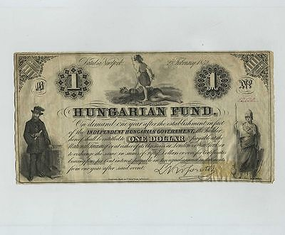 1852 Hungary Hungarian Fund $1 One Dollar Note Bill Obsolete Currency cv7191