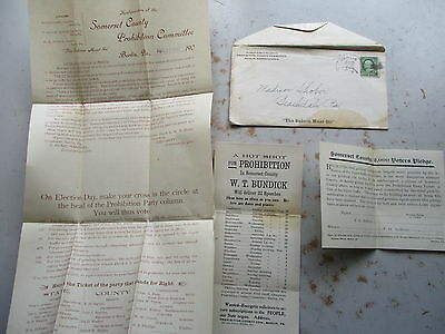 1902 Handbill, Etc. in Envelope for Somerset County PA Prohibition Committee