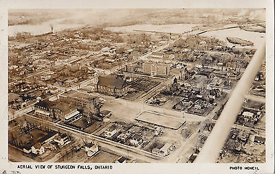 Aerial View of STURGEON FALLS Ontario Canada1940-50s Photo McNeil Rumsy RPPC