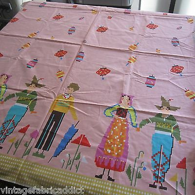 Vintage Fabric Quilt Craft Sew Pink Polished Novelty Border Print 1980S People