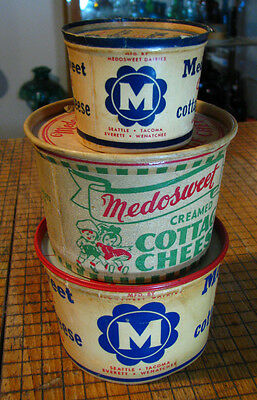 3 dif VINTAGE old MEDOSWEET COTTAGE CHEESE containers TACOMA WENATCHEE SEATTLE