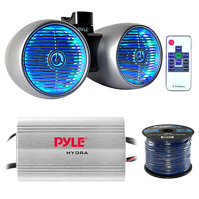 """8"""" Silver LED Marine Speaker Tower Set and Wiring, PLMRMP3A  4 Channel Amplifier"""