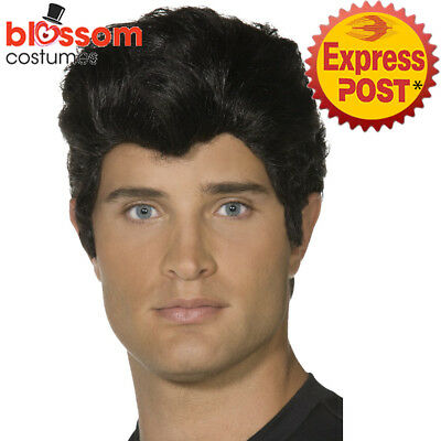W468 Black Danny Grease 50s Rocker Rock and Rol T-Bird Mens Greaser Costume Wig