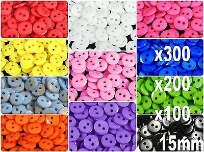 300/200pcs Candy Colors Round Resin Buttons Craft Scrapbook Sewing 15 mm 2 Holes