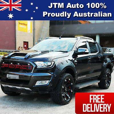 Ford Ranger PX2 MK2 Wrinkle Matt Black Fender Flares Wheel Arch 2015 2016 2017