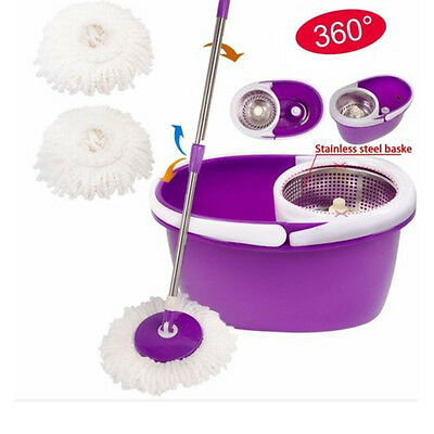 Easy Magic Spining Floor Mop 360°Bucket 2 Heads Microfiber Rotating Head New