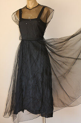 SHOW-STOPPING VINTAGE 80's HALF CIRCLE NETTING PARTY COCKTAIL DRESS 12