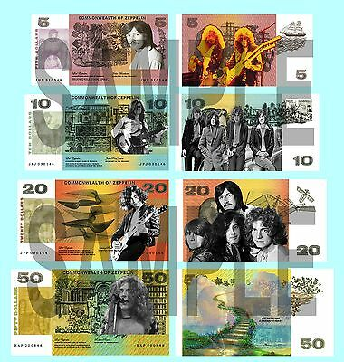 Set Of 4 Led Zeppelin Double Sided Fun Australian Style Notes