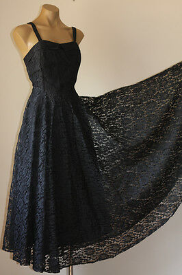 GYPSY VINTAGE 80's SWINGY FLORAL LACE COCKTAIL PARTY DRESS 10