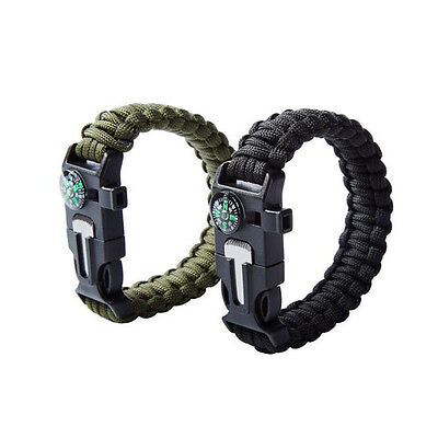 5 in 1 Multifunction Safety Whistle Outdoor Survive Guide Bracelet