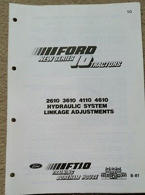 Ford 2610 3610 4110 4610 Tractor Hydraulic System Linkage Adjustments Info