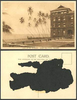 Ceylon Old Postcard Lawn on Seashore GALLE FACE HOTEL Entrance Colombo Palm Tree