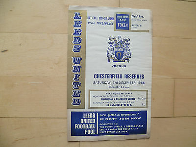 Leeds Utd reserves v Chesterfield reserves 1966 Central League