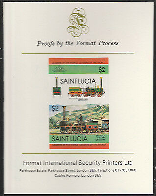 St Lucia (2014) Locomotives #2 Der Adler  imperf on Format PROOF  CARD