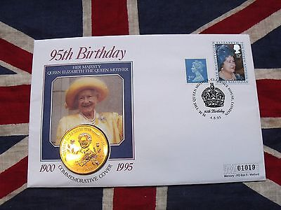 1995 Guernsey BUN £5 Five pounds Queen Mother 95th Birthday First Day Coin Cover