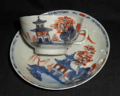 18Th Century Chinese Porcelain Cup & Saucer - Pagoda In Landscape