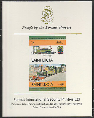 St Lucia (2016) Locomotives #2 Taw 2-6-2  imperf on Format PROOF  CARD