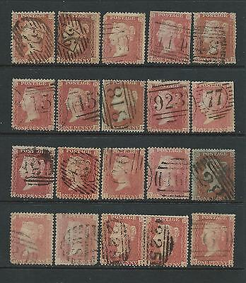 Collection of good used QV 1d red stars stamps.