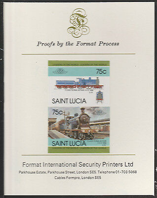 St Lucia (2021) Locomotives #4 Dunalastair 4-4-0  imperf on Format PROOF  CARD
