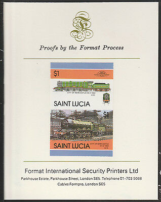 St Lucia (2022) Locomotives #5 City of Newcastle  imperf on Format PROOF  CARD