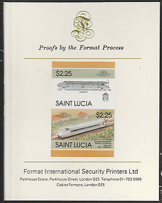 St Lucia (2023) Locomotives #5 Von Kruckenburg  imperf on Format PROOF  CARD