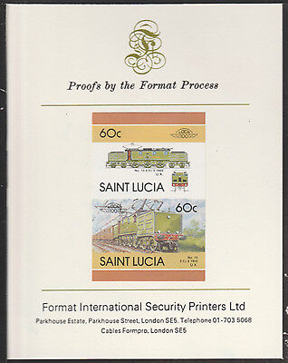 St Lucia (2028) Locomotives #5 Electric Loco  imperf on Format PROOF  CARD