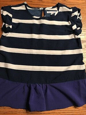 GAP Kids Girls Size Small, Navy, White Striped Short Sleeve Shirt EUC