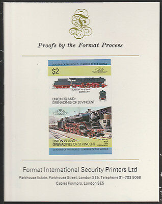 Union Island (2041) Locomotive Class 01  4-6-2   imperf on Format PROOF  CARD