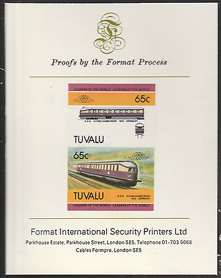 Tuvalu (2044) Locomotives #5 Flying Hamburger imperf on Format PROOF  CARD