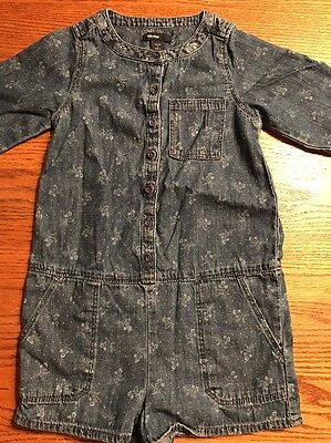 Baby Gap Toddler Girls Size 4T Floral Chambray Romper Adorable