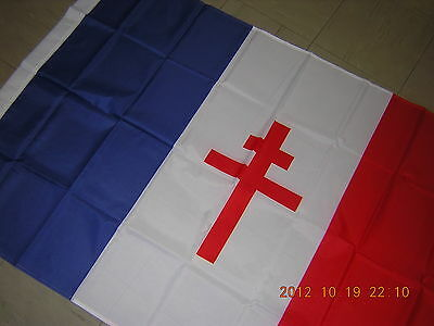 100% NEW Reproduced WWII 1939-1945 Flag of Free France Ensign 3X5ft French Paris