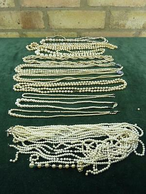 11 vintage faux pearl necklaces two need fixing