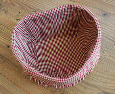 Peterboro Basket Company Heart Shaped Basket w/ Gingham Fabric Liner *VALENTINES