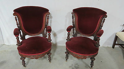 Antique Victorian Pair Chairs Stunning Walnut