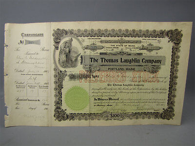 Antique 1907 Thomas Laughlin Stock Cert Certificate 525
