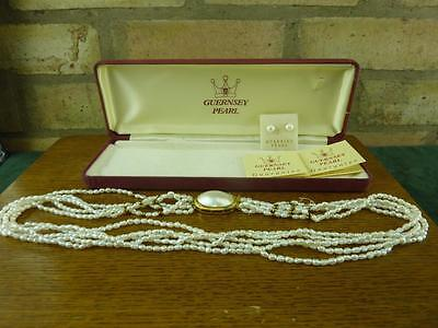 vintage Guernsey Pearl five string pearl necklace with matching earrings boxed