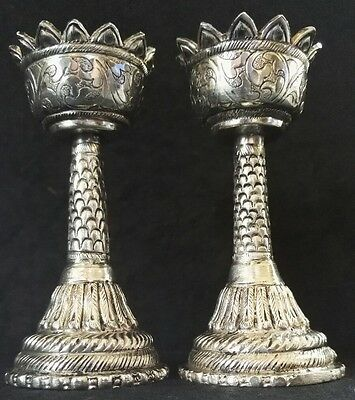 Pair of Antique Gothic style Hallmarked solid Continental silver Candlesticks