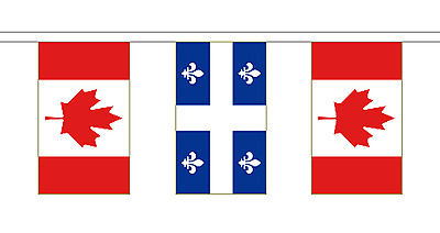 Quebec & Canada Polyester Friendship Flag Bunting - 10m with 28 Flags