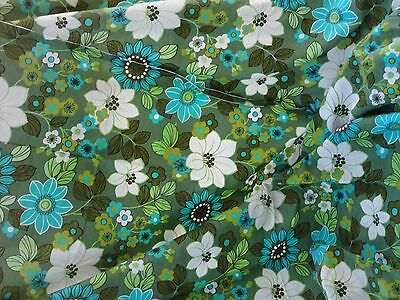 70s vintage green retro floral print fabric craft