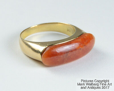 Chinese Mens 14K Gold & Natural Red Jadeite Saddle Ring, Size 10, Mid 20th C.