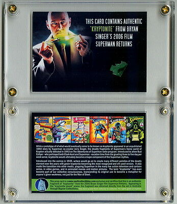 Authentic Screen Used Kryptonite Movie Prop Card From Superman Returns