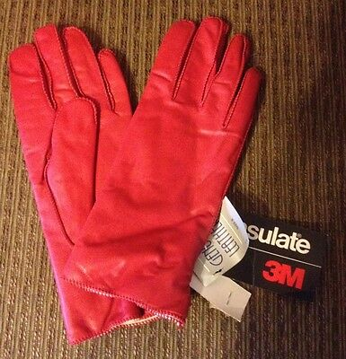 Vintage Ladies Red Genuine Leather Thinsulate Driving Gloves Sz. 8 ~ NWT