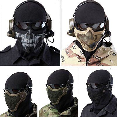 Metal Steel Mesh Mask Face Guard For Paintball Airsoft Game Hunting-Double Belt