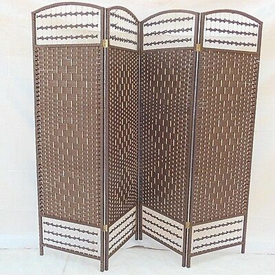 1X Coffee Knitted Room Divider 4 Panels Folding Screen