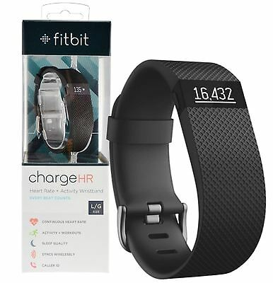 New Genuine Fitbit Charge Hr Heart Rate + Activity Tracker Black Wristband Large