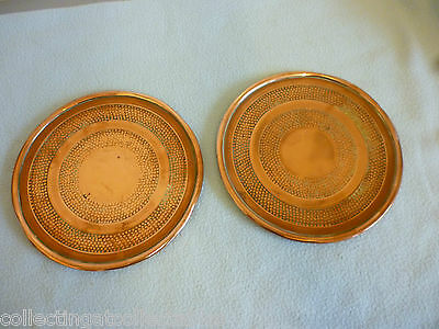 Beautiful Pair of Arts And Crafts Hand Hammered Copper Plates