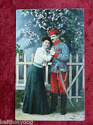 Original Vintage Military Postcard : 0112A ; Soldier and his Sweetheart